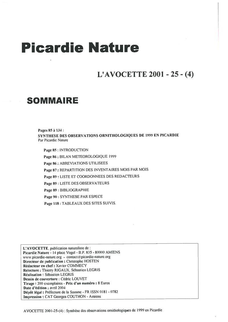 Avocette 2001 25 4 Archives De Picardie Nature 8358000 I L Pages 85 134 Synthese Des Observations Ornithologiques 1999 En Par Page